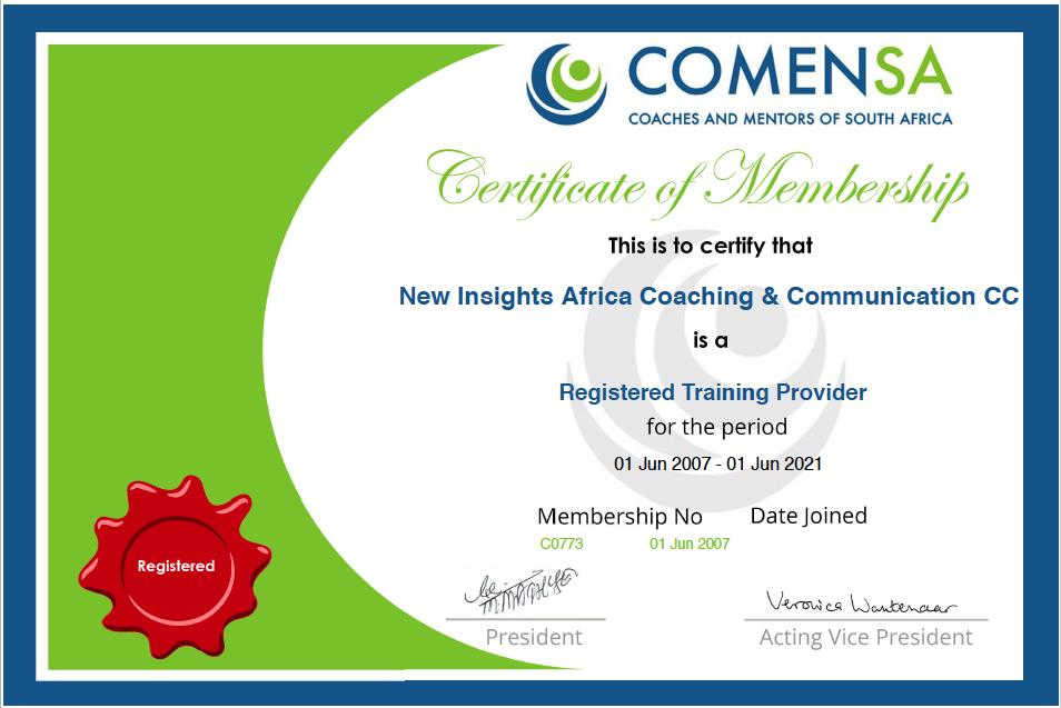 COMENSA certificate